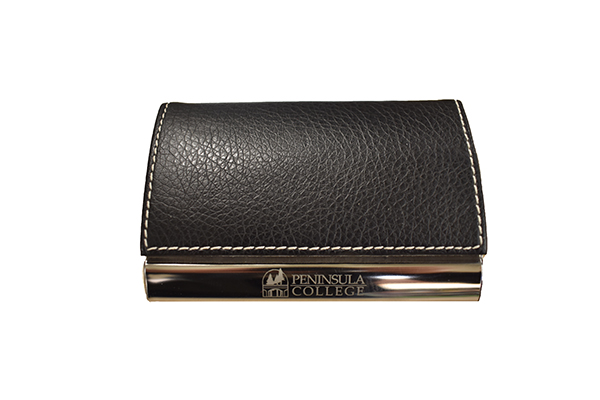 Image For Peninsula College Imprinted Leather Card Holder