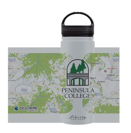 Image For Liberty Waterbottle Wide Mouth Silver PC map imprint